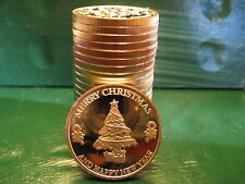 "20 ""Christmas TREE"" 1oz .999 Copper 20 beautiful rounds plastic tube"