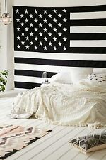 American Flag Tapestry Patriotic Wall Hanging Wall Decor Tapestry B&W Throw