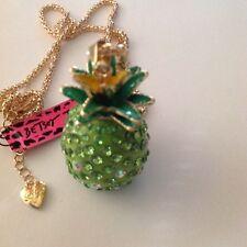 """GREEN HAWAIIAN PINEAPPLE 28"""" Pendant Necklace Betsey Johnson+"""
