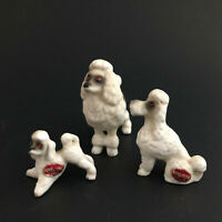 Vintage Tiny Miniature White Gray Poodle Set Of Three Dogs Bone China Japan