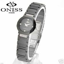 ONISS PARIS BLACK STAINLESS STEEL ROUND CRYSTAL SRP$600