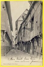 cpa 10 TROYES (Aube) Ruelle GAMBEY Vieille MAISONS CARRIOLES Caniveau DOS 1900