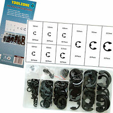 E-Clips Retaining Ring Assortment Set / 300pc E-Clip Set in resealable container