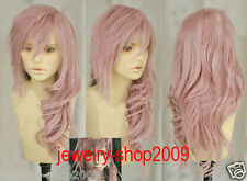 New wig Cosplay Lightning serah New Long Mix pink Curly Wig