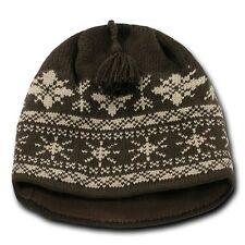 Brown & Khaki Snowflake Nordic Beanie Hat Pom Ski Snowboard Winter Warm Knit Cap