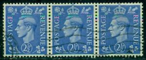 GREAT BRITAIN SG-489a, SCOTT # 262a STRIP OF 3, USED, EXTRA FINE, GREAT PRICE!