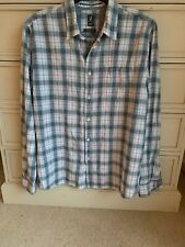 Mens Size Large  Slim Fit White Stuff Check Shirt Blue Pre Owned