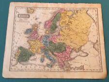 Woodbridge School Atlas 1829 EUROPE 12 X 10 Hand Colored ORIGINAL