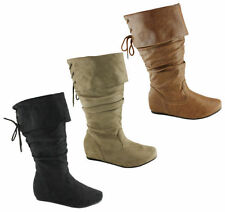 Flat (0 to 1/2 in.) Mid-Calf Boots Synthetic Shoes for Women