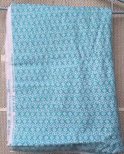 Flannel Fabric Aqua and white flowers 2 1/2 yards x 44 inches Joann Fabrics