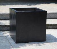 2 x Terrazzo Blumenkübel, Würfel, schwarz, Pflanzkübel, Blumentopf, 63x63x63 cm