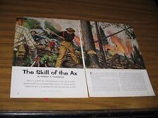 1957 Magazine Picture Skill of the Axe Forest Fire Drawn by Raphael Cavaliere