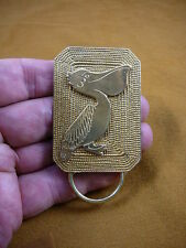E-845) Pelican coastal bird textured brass Eyeglass pin pendant ID badge holder