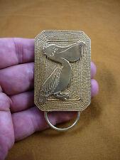 E-845) Pelican coastal bird textured brass Eyeglass pin pendant ID badge holder