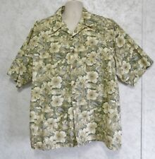 Duck Head Men's Hawaiian Shirt Size XXL 100% Cotton Green Yellow Hibiscus