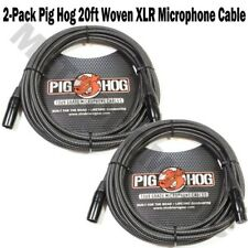 2 Pig Hog 20ft Woven Microphone Cable XLR 7.2mm PHM20BKW PigHog Vintage-Style