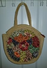 Vintage Colorful Floral Woven Straw Round Bag Purse Summer