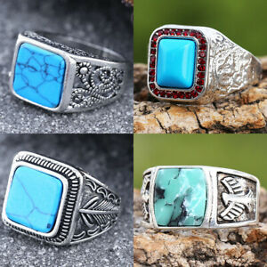Fashion Men Silver Square Turquoise Ring Band Wedding Party Jewelry Gift Sz7-13
