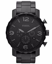 Fossil JR1401 Nate Chronograph Analog Black Ion Plated Stainless Steel Watch