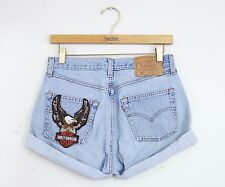 Vintage LEVI'S H.D. Light Wash High Waisted Cut Offs Cuffed Denim Shorts - 28/29
