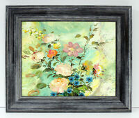 Floral Bouquet Roses 16 x 20 Oil Painting on Canvas w/ Custom Made Frame