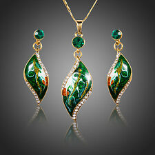 18K Gold Plated Green Swarovski Element Crystal Pendant Necklace and Earring Set