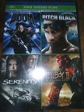 Four Feature Films: Doom/Pitch Black/Serenity/Hellboy (Dvd, 2014, 4-Disc Set)