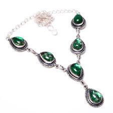 "Green Rutilated Quartz Gemstone 925 Sterling Silver Necklace 16-17.99"" RSN-106"