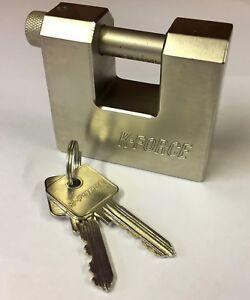 75mm Solid Steel Warehouse Block Lock Keyed Differ