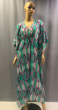 180204 NEW NATORI IKAT PRINTED COTON BLEND V-NECK BUTTERFLY CAFTAN SZ S SMALL