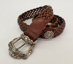Fossil Braided Leather Concho Belt Medium 30 32 34 Brown BT4410