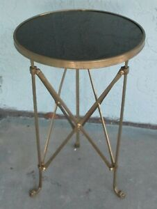 Global Views French Style Directoire Brass and Black Granite Top Side Table