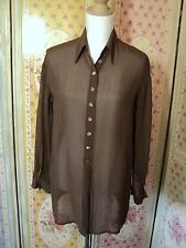 edward Kazas oversize brown georgette overshirt REALLY LOVELY!  tunic