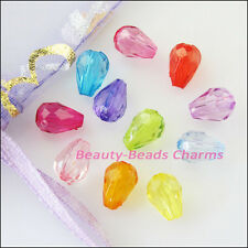 200Pcs Mixed Plastic Acrylic Clear Teardrop Spacer Beads Charms 6x8.5mm