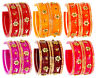 Indian Bangles Design Party Wear Bollywood Ethnic Fashion Jewelry Set Multi 6pc