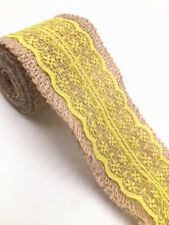 2 meter lace burlap ribbon natural width 6cm Vintage Wedding Party Deco  yellow