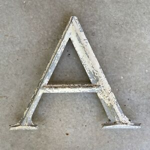 """A Vintage industrial salvage Sign Cast Aluminum metal 16"""" Letter outdoor 1950's"""