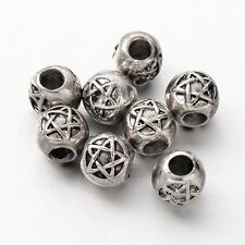 4 PENTACLE Engraved Euro HEAVY Beads fits 4.5mm Cord Leather Hair Pagan Wiccan