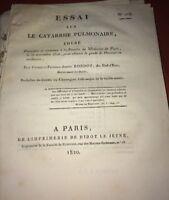 ESSAI SUR LE CATARRHE PULMONAIRE 1820- MÉDECINE.