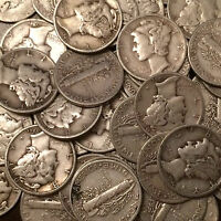 Lot of 100 Coins $10.00 Face 90/% FREE P//H 2 Rolls Mercury Silver Dimes