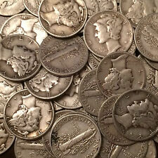 Lot of 100 Coins, 2 Rolls Mercury Silver Dimes, $10.00 Face 90% FREE S/H