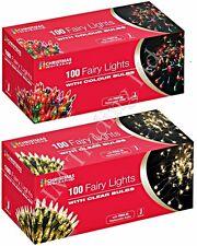 100 Clear or Multi Colour Bulb Christmas Fairy Lights Xmas Tree Decoration Party