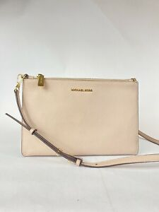 Michael Kors Pebble Leather Double Pouch Crossbody Bag Soft Pink