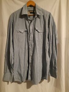 Panhandle Mens blue striped Long Sleeve Pearl Snap Shirt size Large