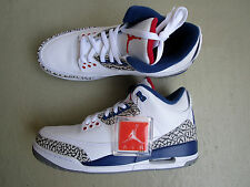 "NIKE Air Jordan 3/iii retro 45.5 ""OG True Blue"" White/Fire Red-True Blue-Cement"