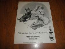 SCOTTISH TERRIERS Original AD _ BLACK& WHITE SCOTCH 1958-Merry Christmas