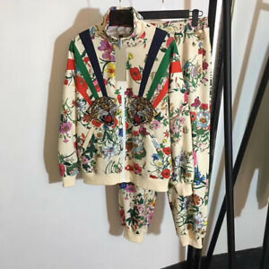 2020 Luxury Women Tracksuits Jacket+Pants Embroidery Designer 2 pieces Flower