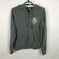 Pabst Blue Ribbon Beer Hooded Sweatshirt Jacket Gray Mens Size XL Thumbholes