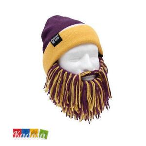 Berretto con BARBA Bicolor Giallo Viola BEARD HEAD Cappello Sci Snowboard Lakers