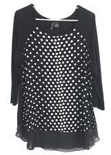 Women's New Directions Black Light Gray Polka Dot Scoop Neck 3/4 Sleeve Blouse M